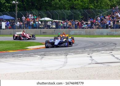 Elkhart Lake, Wisconsin- June 23, 2019: 31 Patricio O'Ward, Mexico Carlin NTT Indycar race at Road America.