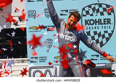 Elkhart Lake Wisconsin USA - 24 June 2016: Indycar racing action Road America. Victory Celebration - Will Power race winner #12 Team Penske Verizon
