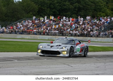 Elkhart Lake Wisconsin, USA - August 18, 2012: Road America Road Race Showcase, ALMS, multi-class sports car, GT motor race. American Le Mans Series. IMSA Kuno Wittmer, Dominik Farnbacher,SRT Viper