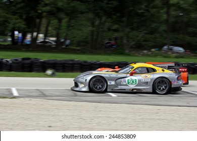 Elkhart Lake Wisconsin, USA - August 18, 2012: Road America Road Race Showcase, ALMS, multi-class sports car and GT motor race. American Le Mans Series IMSA. Marc Goossens, Tommy Kendall, SRT Viper