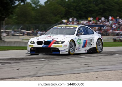 Elkhart Lake Wisconsin, USA - August 18, 2012: Road America Road Race Showcase, ALMS, multi-class sports car and GT motor race. American Le Mans Series IMSA. Joey Hand, Jonathan Summerton, BMW M3