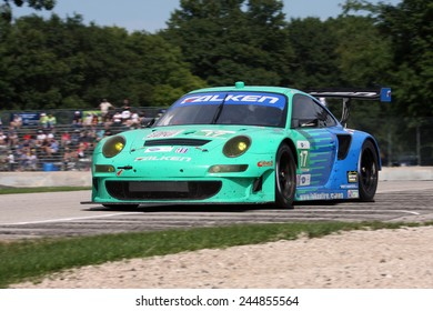 Elkhart Lake Wisconsin, USA - August 18, 2012: Road America Road Race Showcase, ALMS / IMSA sports car GT motor race. American Le Mans Series Four-hour, timed period. Wolf Henzler, Bryan Sellers