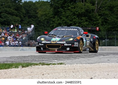 Elkhart Lake Wisconsin, USA - August 18, 2012: Road America Road Race Showcase, ALMS / IMSA sports car GT race. American Le Mans Series Four-hour, timed. Bill Sweedler, Townsend Bell, Lotus Evora