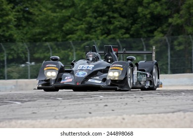 Elkhart Lake Wisconsin, USA - August 18, 2012: Road America Road Race Showcase, ALMS prototype IMSA. American Le Mans Series Four-hour, timed period. Scott Tucker, Christophe Bouchut, HPD ARX-03b,