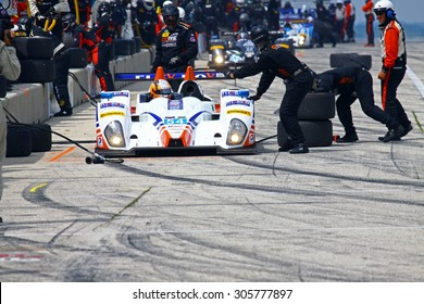 Elkhart Lake, Wisconsin USA - August 9, 2015: Road America road course, IMSA CORE autosport, Flex Box / Composite Resources, ORECA FLM09 makes a quick pit stop. powered by Chevrolet