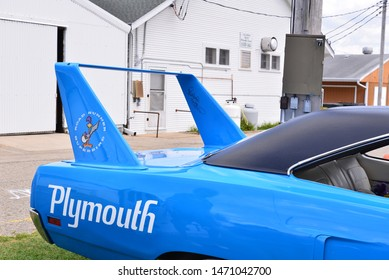 Elkhorn, Wisconsin / USA - August 3, 2019:  The inside wing is signed by Richard Petty on this Petty blue 1970 Plymouth Road Runner Superbird with logos visible on the rear quarter and wing.