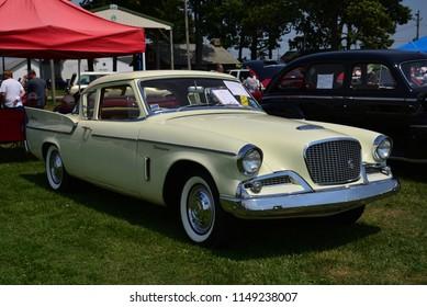 Elkhorn, Wisconsin / USA - August 4, 2018: 1959 Studebaker Silver Hawk 2 door in the cars for sale area.