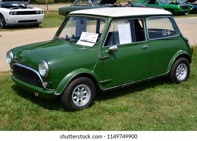 Elkhorn, Wisconsin / USA - August 4, 2018: Austin Mini Cooper S at local car show.