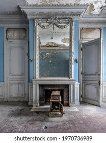 Elkins Park, PA US - 02 06 21: Abandoned Mansion Room with chairs and fireplace