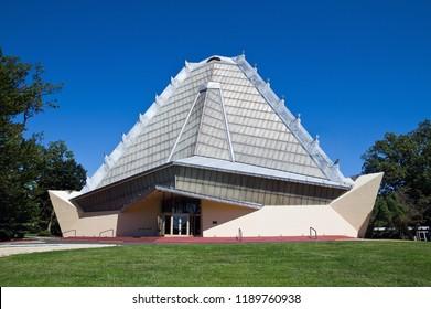 Elkins Park, PA USA 09/16/2018 Beth Sholom Congregation Synagogue. National Historic Landmark designed by architect Frank Lloyd Wright