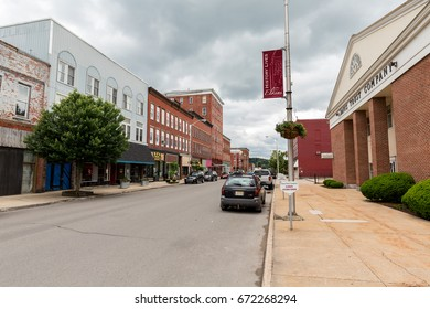 Elkins, West Virginia - 26 May, 2017: Downtown Elkins, WV; the county seat of Randolph county.