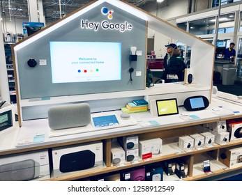 ELKRIDGE, MD, USA- DECEMBER 14, 2018: Google smart device kiosk inside a Best Buy store.