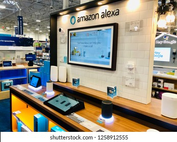 ELKRIDGE, MD, USA- DECEMBER 14, 2018: An Amazon Alexa smart device kiosk inside Best Buy.