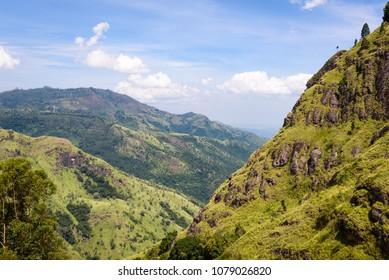 Ella Rock mountain, Sri Lanka. The famous Ella rock with Ella Gap in foreground. Panorama viewpoint near Ella,  Sri Lanka.
