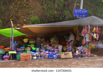 Ella, Sri Lanka - April 11, 2018: The only stall not selling fruits and vegetables at the morning street market on Passara Road.