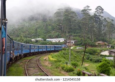 ELLA, SRI LANKA - APRIL 2016: Train ride from Ella to Kandy among tea plantations in the highlands of Sri Lanka