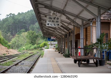 Ella, Sri Lanka - August 5, 2018: Empty platform at Ella railway station