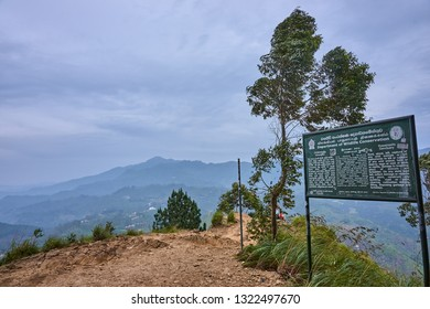 ELLA, SRI LANKA - DECEMBER 13, 2018: At the top of Ella Rock on 13 December 2018 in Ella, Sri Lanka. Ella Rock is the highest peak on which you can get out of the town