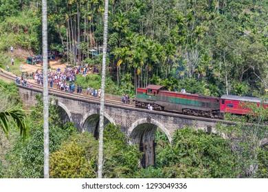 Ella, Sri Lanka - December 25, 2018: Famous Demodara Nine Arch Bridge. Ella, Sri Lanka.