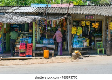 ELLA, SRI LANKA - FEBRUARY 02. Little shops, small business in the streets of the small town Ella on February 02, 2017. Ella is a top tourist destination in the Uva province of Sri Lanka