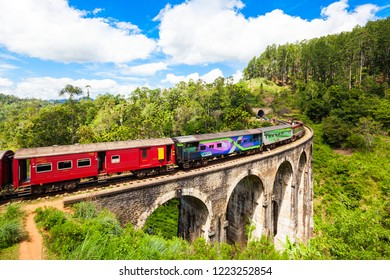 ELLA, SRI LANKA - FEBRUARY 24, 2017: Train on the Nine Arches Demodara Bridge or the Bridge in the sky. Nine Arches Bridge is located in Demodara near Ella city, Sri Lanka.