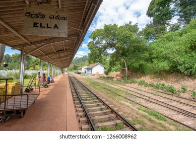 Ella, Sri Lanka - September 16th, 2018: The train station platform in Ella, Sri Lanka, one of most popular tourist destinations in the country.