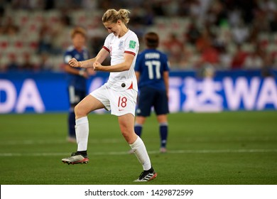 Ellen White of England celebrates after scoring his sides first goal FIFA Women's World Cup France group D match between Japan and England at Stade de Nice on June 19, 2019 in Nice, France