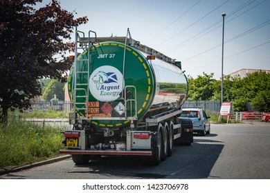 Ellesmere Port, Cheshire, UK - 23 May, 2018.  Tanker lorry carrying biodiesel leaving manufacturing plant in Ellesmere Port, North Cheshire, UK