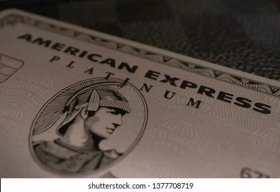 Ellington, Ct / USA - 04/22/2019 Macro close up shot of American Express Platinum Credit Card