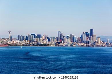 Elliott Bay and the Seattle, Washington skyline.