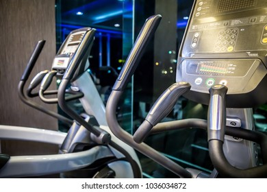 Elliptical cross trainer machine in fitness gym