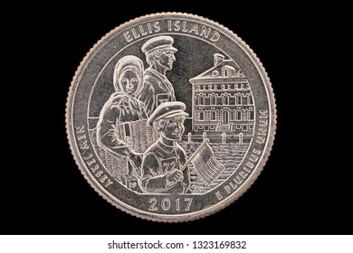 Ellis Island New Jersey commemorative quarter coin isolated on black