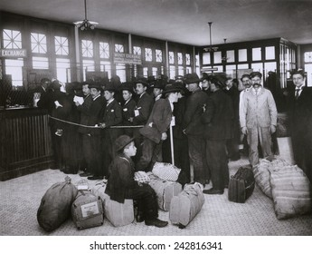 Ellis Island provided new immigrants with services to prevent their exploitation by dishonest moneychangers. The Money Exchange converted their currencies without charge. Ca. 1910 .