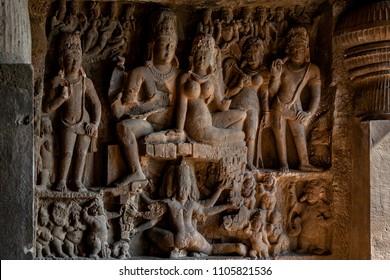 Ellora, cave 29, Ravana shaking Mount Kailasa epitome of Indian rock-cut architecture is a World Heritage Site. 34 kilomiter from Aurangabad Maharashtra INDIA