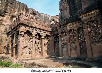 Ellora Caves ancient ruins in Maharashtra, India