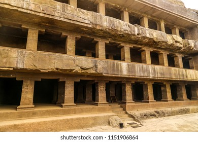 Ellora caves, Aurangabad. The magnificent Ellora Caves of India. Monastery cut out of a rock, with Vajrayana iconography inside at Ellora Caves.
