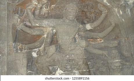 Ellora caves. Goddess statues. World Heritage site.