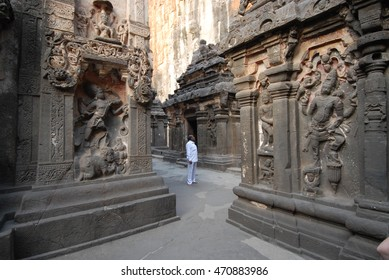 ELLORA, INDIA - December 17, 2011: The caves in the archaeological site