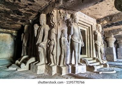 Ellora, India - February 11, 2018: Interior of Dhumar Lena temple at Ellora Caves - Maharashtra, India