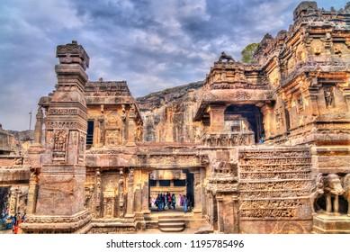 Ellora, India - February 7, 2018: The Kailasa temple, cave 16 in Ellora complex. A UNESCO world heritage site in Maharashtra, India