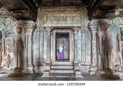 Ellora, India - February 7, 2018: Interior of Indra Sabha temple at Ellora Caves - Maharashtra, India