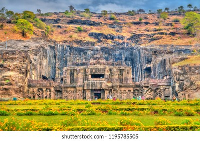 Ellora, India - February 7, 2018: The Kailasa temple, the largest temple at Ellora Caves. A UNESCO world heritage site in Maharashtra, India