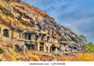 Ellora, India - February 7, 2018: View of Buddhist monuments at Ellora Caves. A UNESCO world heritage site in Maharashtra, India
