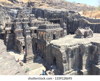 Ellora, Maharashtra, India - March 13th, 2017: A panoramic view of Kailasa temple. It is one of the largest Indian rock-cut ancient Hindu temples located in the Ellora Caves.