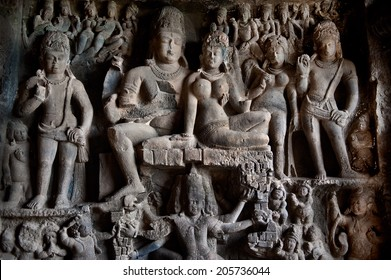 Ellora temple religious complex with buddhist, hindu and jain cave temples and monasteries ,India, unesco world heritage site