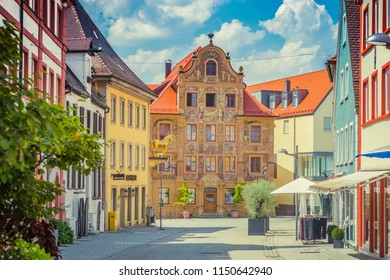 Ellwangen, Germany - August 4, 2018: Haus Zimmerle (Zimmerle house) and other colorful buildings in the historic old town of Ellwangen (Jagst), Bavaria, Germany.
