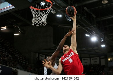 Elmedin Kikanovic of Monaco and Livio Jean Charles of Lyon during French championship playoffs basketball Game 2 LDLC ASVEL vs AS Monaco on 6,17,2019 at Astroballe Villeurbanne France