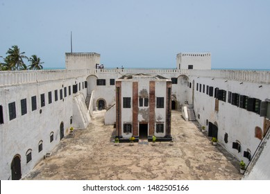 Elmina / Ghana - 02.24.2015: Courtyard and walls of the old Elmina slave castle at the coast in West Africa