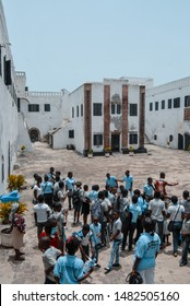 Elmina / Ghana - 02.24.2015: Local Ghanaian school students visiting the old historic Elmina slave castle at the coast of West Africa