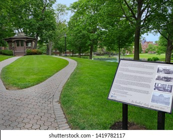 ELMIRA, NY, USA - MAY 2019:  Mark Twain's wife was from Elmira, and the study in which he wrote several books is preserved on the campus of Elmira College.